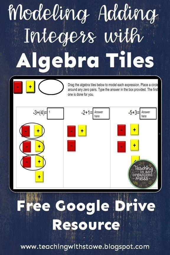 Modeling Adding Integers With Algebra Tiles Free Adding Integers Teaching Integers Algebra Algebra tiles worksheets 6th grade