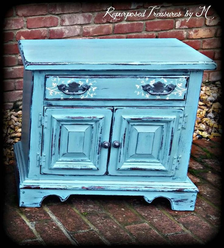 SOLD SOLD Distressed nightstand , shabby chic nightstand, Rustic nightstand, painted dresser,  nightstand, blue dresser, boho furniture by RepurposedbyM on Etsy https://www.etsy.com/listing/262409477/sold-sold-distressed-nightstand-shabby