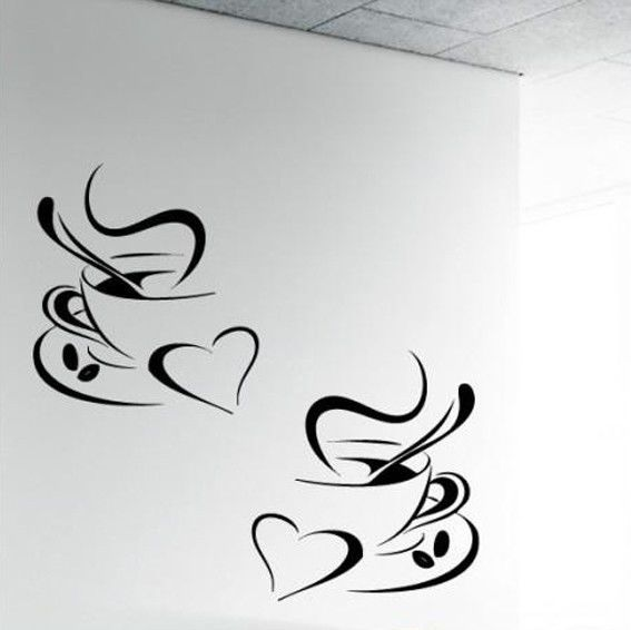 4pcs Black Tea Coffee Cups Kitchen Wall Sticker Decal Art Cafe Vinyl Art #095