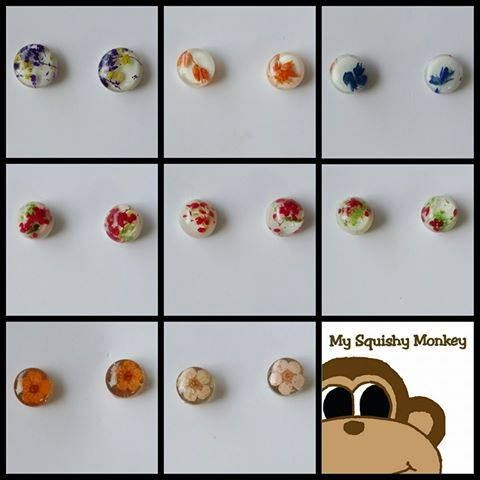 Handmade by @My Squishy Monkey Stud earrings are handcrafted using real flowers and resin