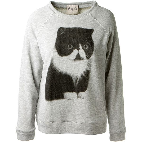 Sea Ny Light Grey Cat Printed Cotton Sweater ($255) ❤ liked on Polyvore featuring tops, sweaters, shirts, sweatshirt, cat shirt, loose shirt, loose sweaters, light grey shirt and cotton sweaters