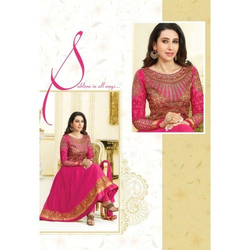 Semistitched Karishma Kapoor Dark Pink color Georgette Embroidery Designer Anarkali Salwar Kameez Suit dress material