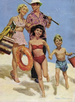 theniftyfifties:    'Day at the Beach', artwork by Peter Stevens for The Americanmagazine, August 1951.