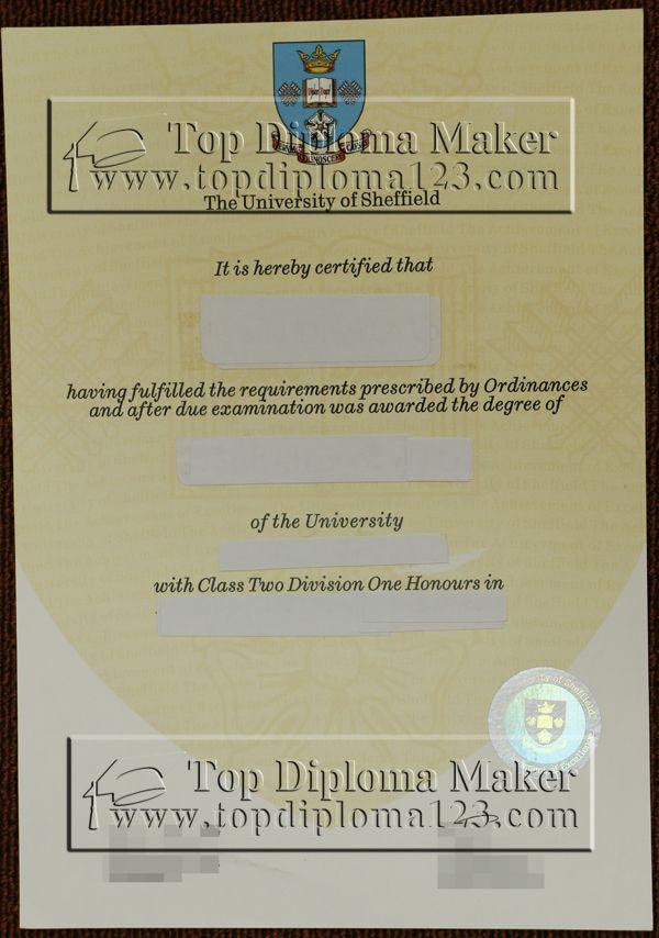 Sheffield University Diploma Transcript Order Fake Sheffield