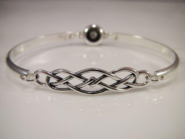 Sterling Silver Discreet Slave Bracelet / Locking Cuff w/ Celtic Knot & Allen Key Clasp - Sized to Order