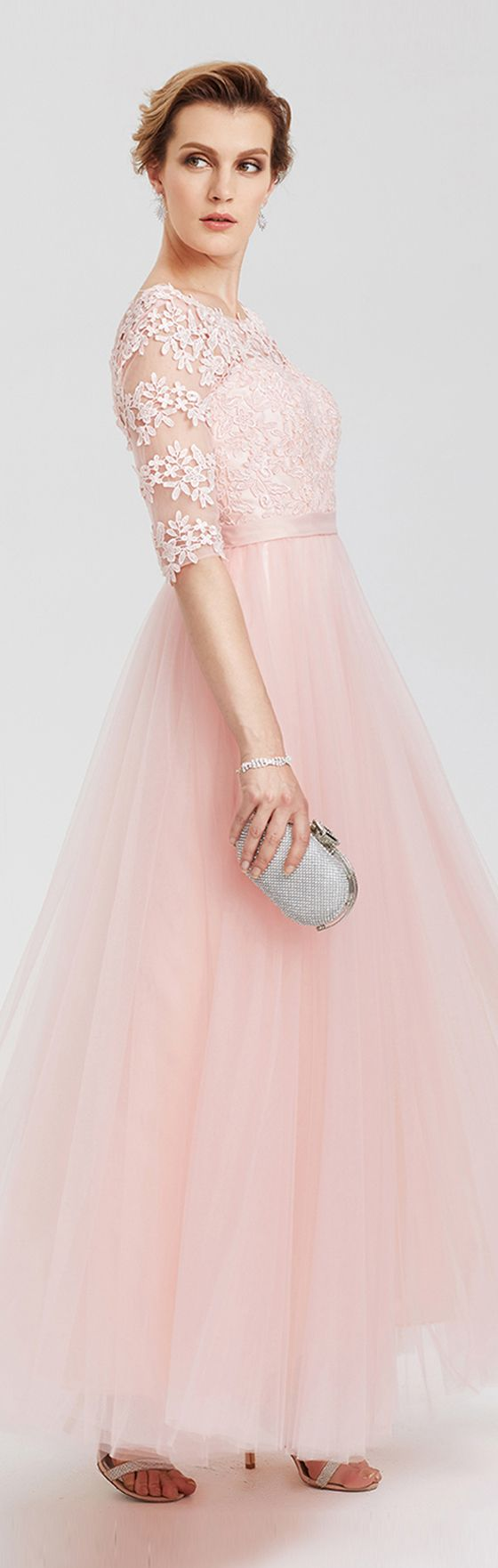 A-Line Illusion Neckline Floor Length Lace Tulle Evening Party Formal Dress with Applique Sash / Ribbon Lace-up Pleats