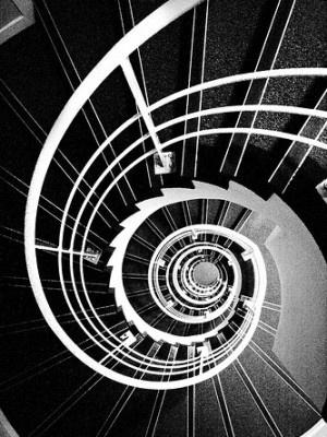 b & w {spiral staircase}