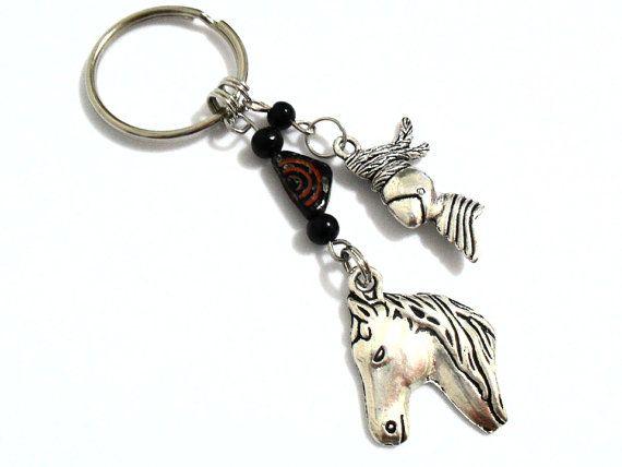 Chevalier keychain, cheval et Knght perlée clé chaîne, chevalier & Armour équitation chevaux clé accessoire, armure de métal de bataille médiévale, cadeaux pour lui