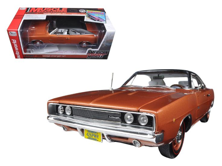 "1968 Dodge Charger R/T Bronze Poly with Black Vinyl Top ""Hemmings Muscle Magazine"" Limited Edition to 1002pc 1/18 Diecast Model Car by Autoworld - Brand new 1:18 scale diecast car model of 1968 Dodge Charger R/T 426 Bronze Poly with Black Vinyl Top ""Hemmings Muscle Magazine"" Limited Edition to 1002pc die cast model car by Autoworld. Brand new box. Rubber tires. Detailed interior, exterior. MM-1 Bronze Poly with Black Vinyl Top. 426 Hemi & 4 Speed Transmission. Dog Dish Hubcaps & Redline…"