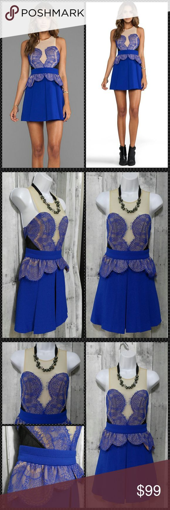 Beautiful blue Three Floor Heart You Dress Love this!!! Beautiful blue and nude lace Three Floor Heart You Dress. Size 6 us, linef, lace trim, pleated skirt, back zipper and back keyhole button closure. Pleated skirt with ruffled trim waist. Like New condition  14 across armpit to armpit 13 across waist flat  33 long   **No trades ** three floor Dresses Midi