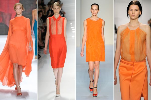 I see something dreamsicle orange in my future.: 2012 Color, Colors Flooded, Runway Fashion, Coral Rug, Bright Orange, Dreamsicle Orange, Fashion Trends