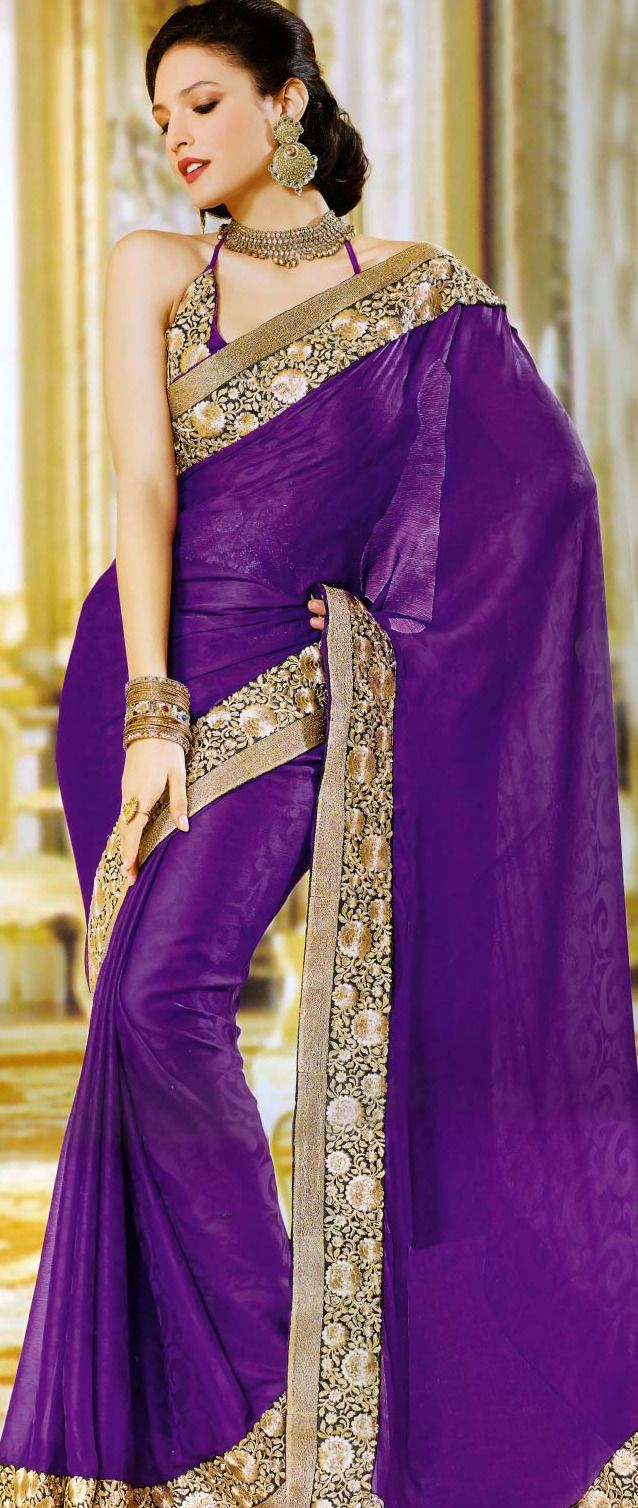 Purple Faux Crepe Jacquard Saree with Blouse @ $75.00