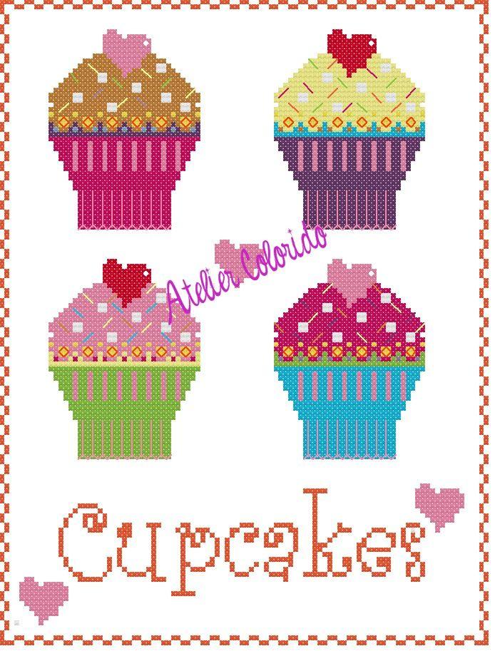 Schema punto croce Cupcakes di Atelier Colorido.