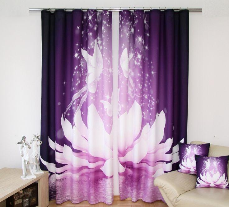 Zasłony do sypialni w kolorze fioletowym z białą lilią