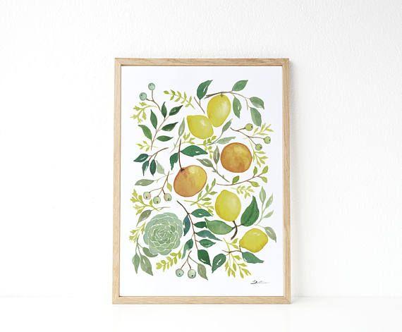 Lemon Illustracion: Lemon print , kitchen decor idea, yellow kitchen decor,  housewarming gift, lemon watercolor paint.
