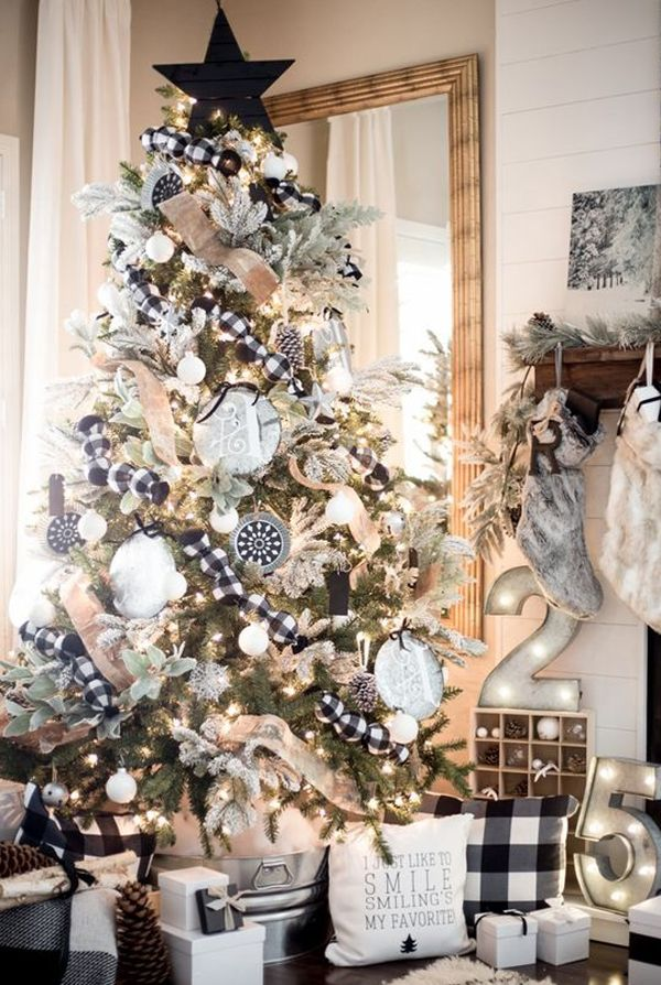 21 Elegant Diy Christmas Decorations Make Your Tree A Fashion Statement Buffalo Check Christmas Decor White Christmas Decor Farmhouse Christmas Decor