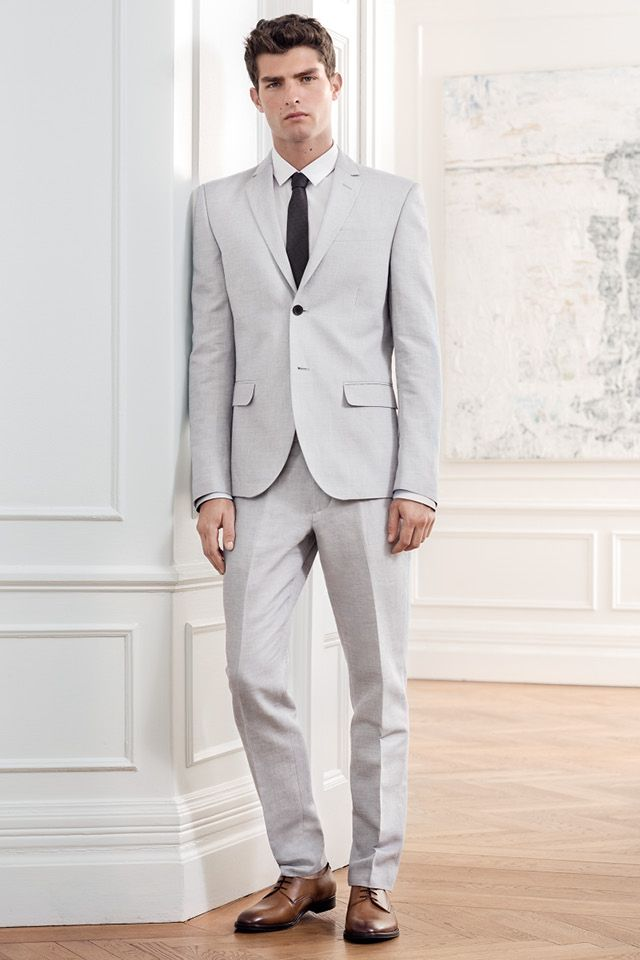 Give formal occasions a seasonal lift with a slim-fitting suit in