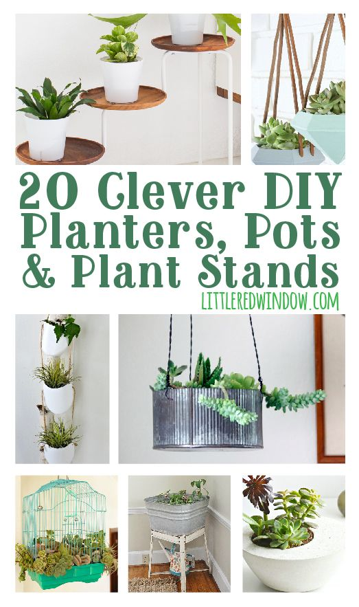 20 Clever DIY Planters, Pots & Plant Stands for your garden or inside! | littleredwindow.com