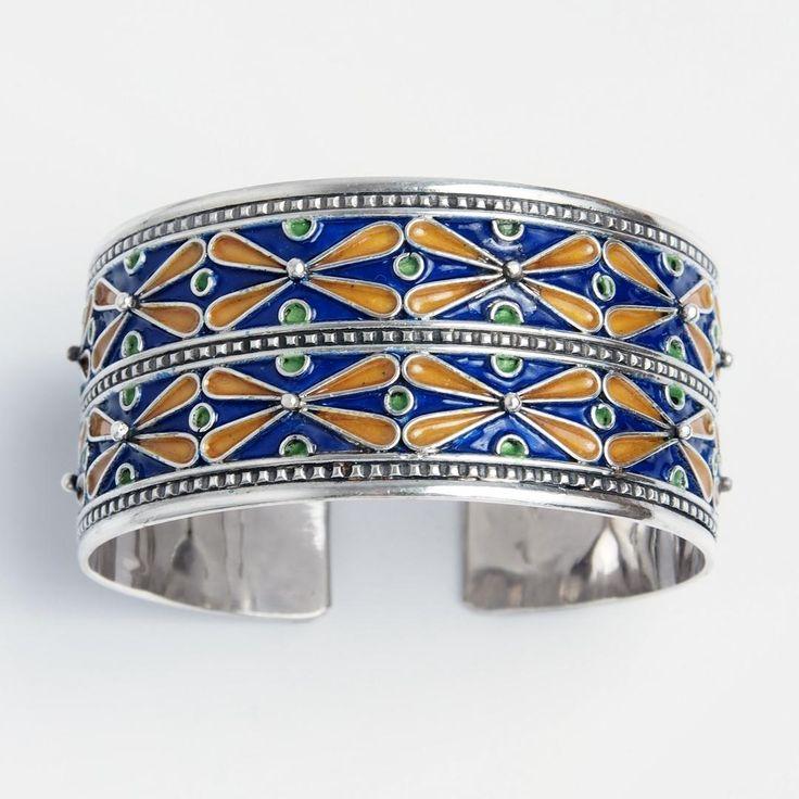 Brățară statement unicat Meknes, argint și email, Maroc  #metaphora #morocco #silverjewellery #silverjewelry #bracelet  #enamel #bangle #statementbracelet #statement