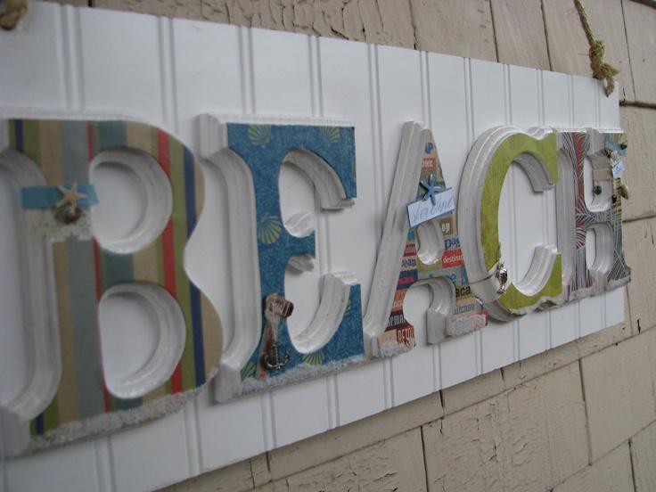 Beach Sign, Wood letters, Home Decor, Custom, Beach