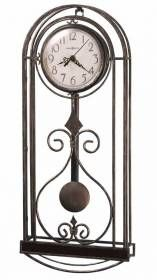 "Howard Miller Wall Clock in wrought-iron metal pendulum 625295 MELINDA-A unique Howard Miller wall clock combining iron metal and wood in a fashionable design. The arched top wood ""frame"" is finished in cherry, with antique gold finished bent metal wire supporting the dial."