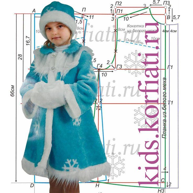 Выкройка новогодного костюма для девочки понравится любой портнихе – яркий карнавальный костюм выполнен из тонкого меха и подкладка ему не требуется