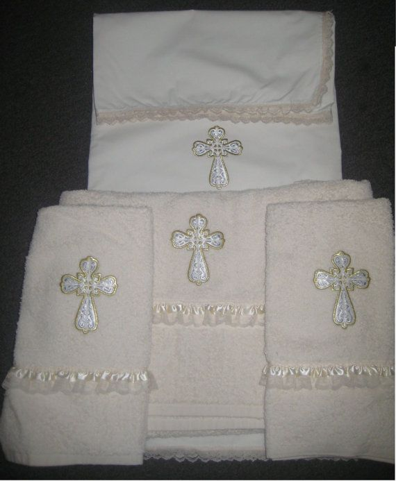 one sheet, one lg towel, two sm towels - $129 Greek orthodox christening oil / towel set