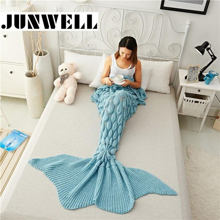 [Visit to Buy] Mermaid Tail Blanket Yarn Knitted Handmade Crochet Mermaid Blanket Kids Throw Bed Wrap Super Soft Sleeping Bed 1PCS/Lot #Advertisement