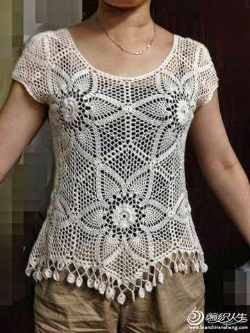As Receitas de Crochê: Blusa de hexágonos de crochê