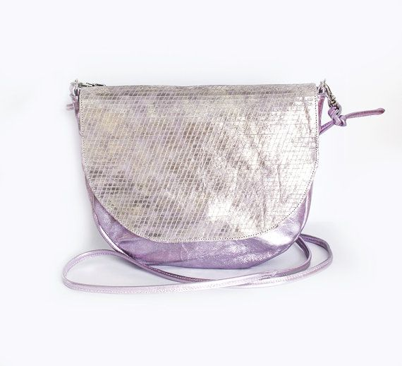Hologram Leather Saddle Bag Pink Kitsch Crossbody by gmaloudesigns