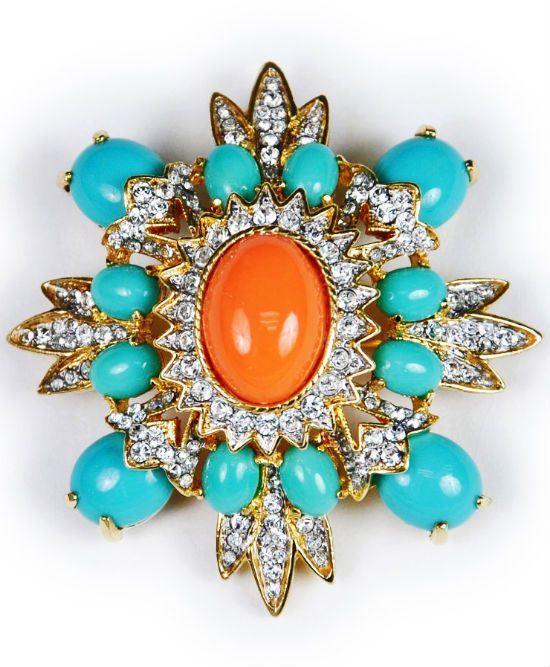 Kenneth Jay Lane Coral and Turquoise Brooch - Haute Tramp