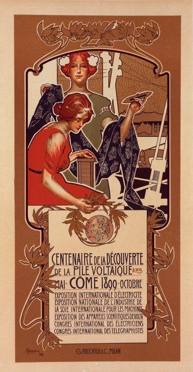 """Affiche italienne pour le """"Centenaire de la Découverte de la Pile Voltaïque""""."""