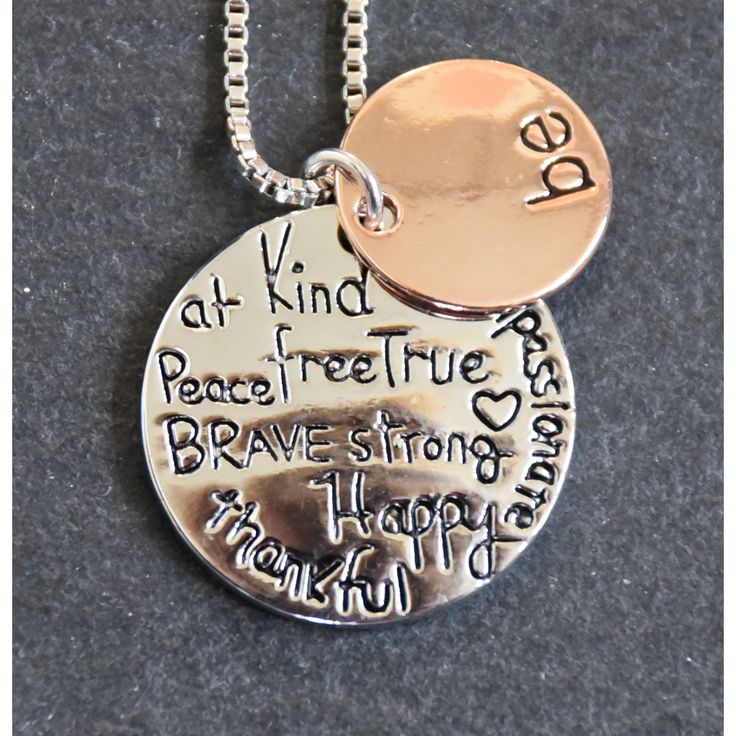 Mint Jules 'Be: At Peace, Kind, Free, True, Brave, Strong, Happy, Thankful, Passionate' Inspirational Pendant (Silver), Women's, Size: 18 Inch (Metal)