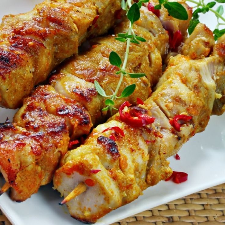 A very tasty recipe for spicy skewered chicken bakes. Serve with your choice of dipping sauce.. Skewered Chicken Bakes Recipe from Grandmothers Kitchen.