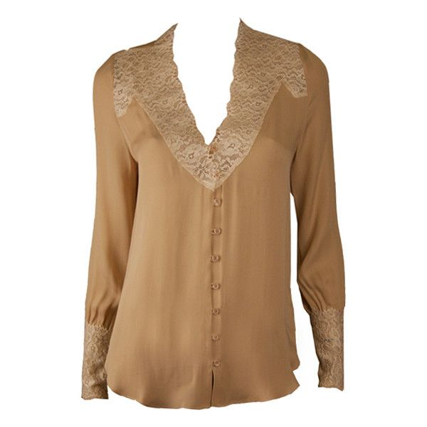 Haute Hippie Nude and Cream Lace Front Pullover Blouse ($365) found on Polyvore