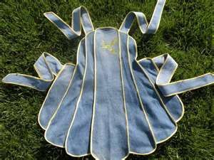recycled denim - vintage pattern apron