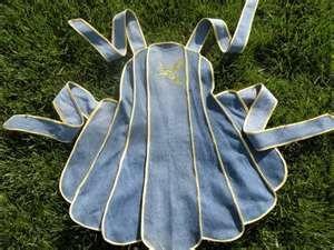 recycled denim - vintage pattern apron