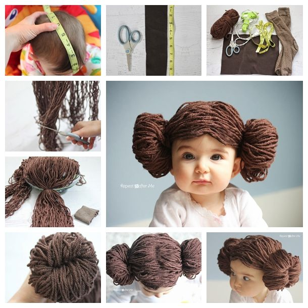 Make this quick and easy Princess Leia Yarn Wig for your Star Wars fans ! It's button cute and perfect for dressing up and imagine the fun photos you can take. <3  Details--> http://wonderfuldiy.com/wonderful-diy-cute-princess-leia-yarn-wig/#  More #DIY projects: www.wonderfuldiy.com