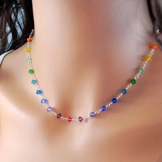 Arco iris collar genuinos cristales de Swarovski por LivEveryDay