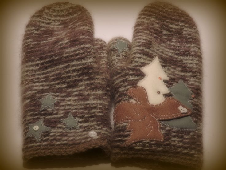 Finn Wool & Alpaca mixed yarns, felted moose and snow trees and stars...what could be more winterly :)