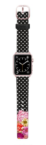 Casetify Apple Watch Band (42mm) Saffiano Leather Watch Band - Floral and Dots by Juliana Zimmermann
