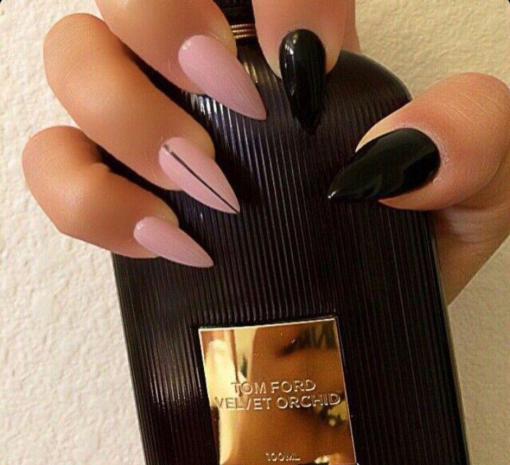 Black & Pink Almond Shape Acrylic Nails...