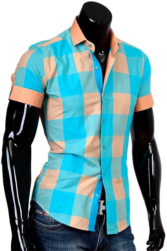 Купить Бирюзовая рубашка с коротким рукавом в клетку фото недорого в Москве