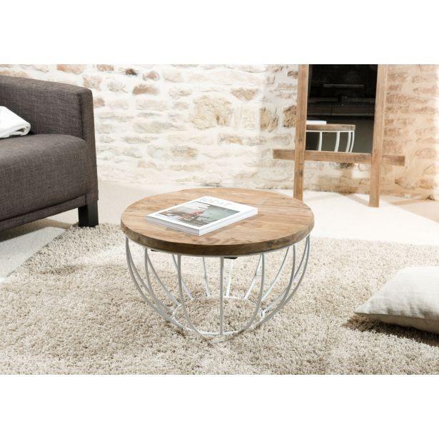 Table basse coque fil métal blanc et plateau en Teck recyclé D60xH34,5cm SWING