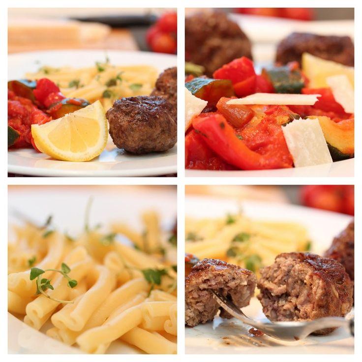 2012-03 Kjøttboller med ratatouille og pasta