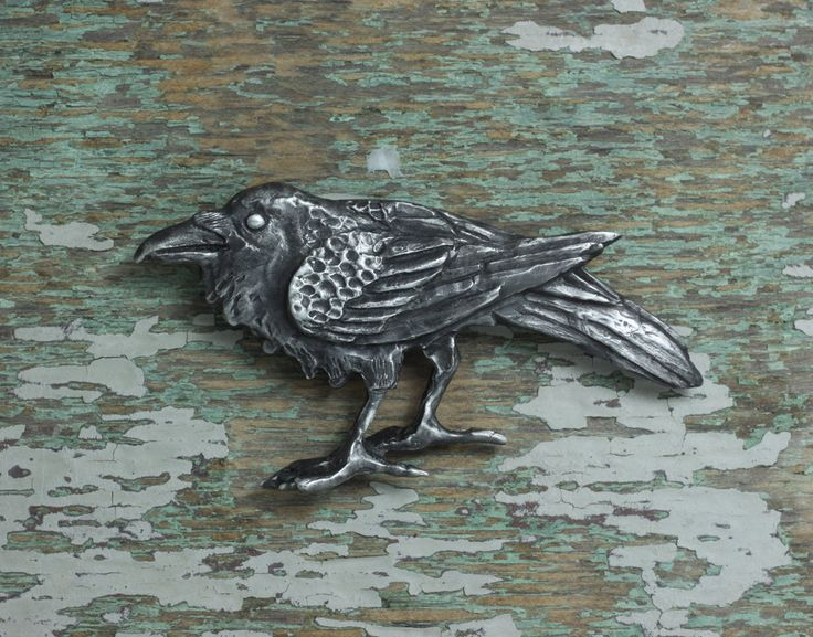 Raven Brooch by EarthlyCreature on Etsy