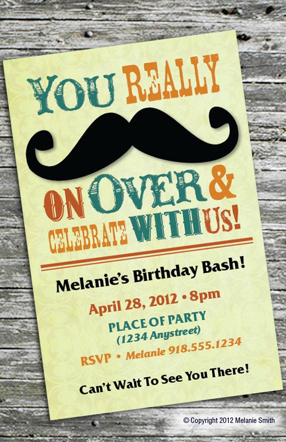 Mustache Party Invitation. $15.00, via Etsy.