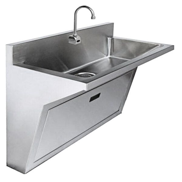 Just Manufacturing Jada7701s Ada Compliant Stainless Steel Wall Hung Single Bowl Surgeon Scrub Sink With 1 Sensor Faucet 32 X 16 1 2 X 6 1 2 Bowl In 2021 Sink Kitchen Furniture Design Clinic Interior Design Stainless steel wall mount sinks