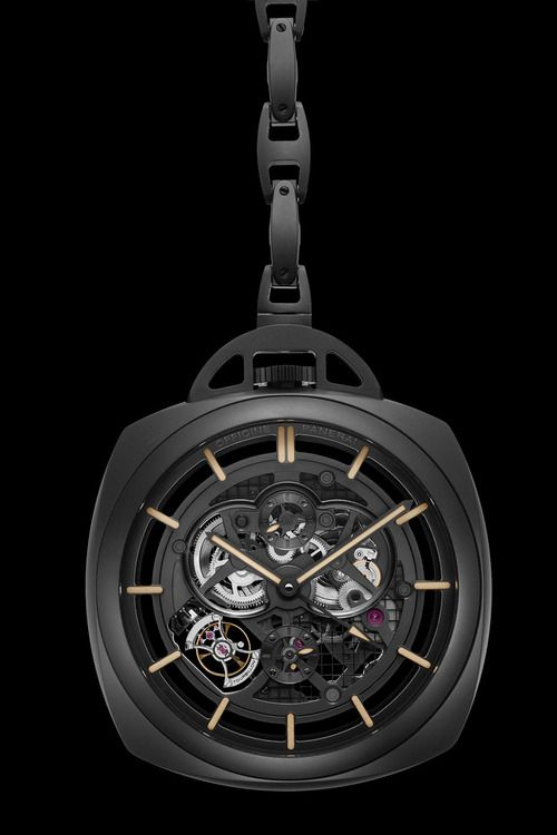 OFFICINE PANERAI POCKET WATCH TOURBILLON GMT CERAMICA. Very modern pocket watch with an appropriate use of a tourbillon.