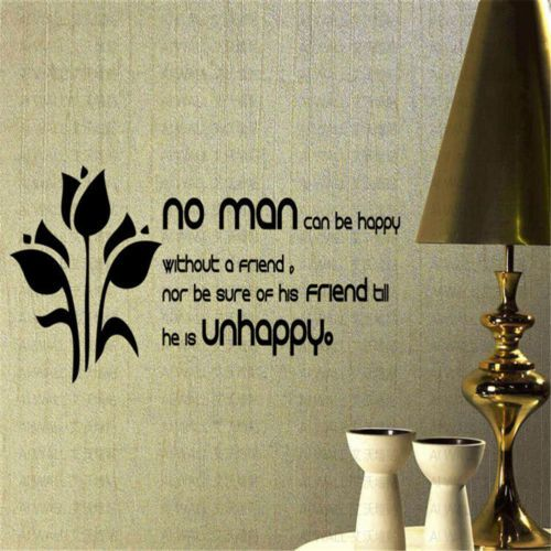No-Man-Can-Be-Happy-Without-A-Friend-Words-Home-Wall-Decor-Vinyle-Sticker-Art